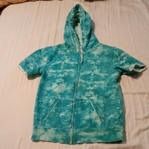So size 10 short-sleeved zippered hoodie teal